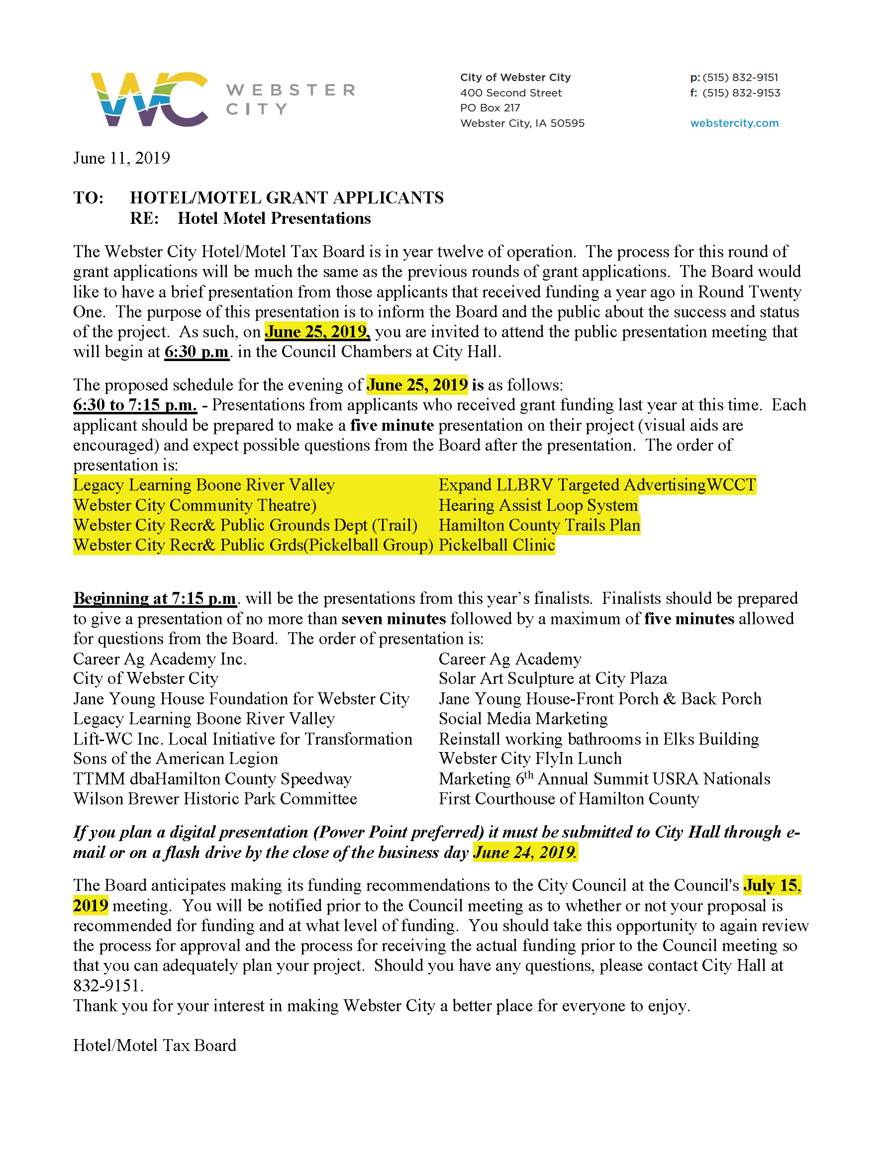 City Hotel/Motel Tax Board - presentations @ Webster City City Hall | Webster City | Iowa | United States