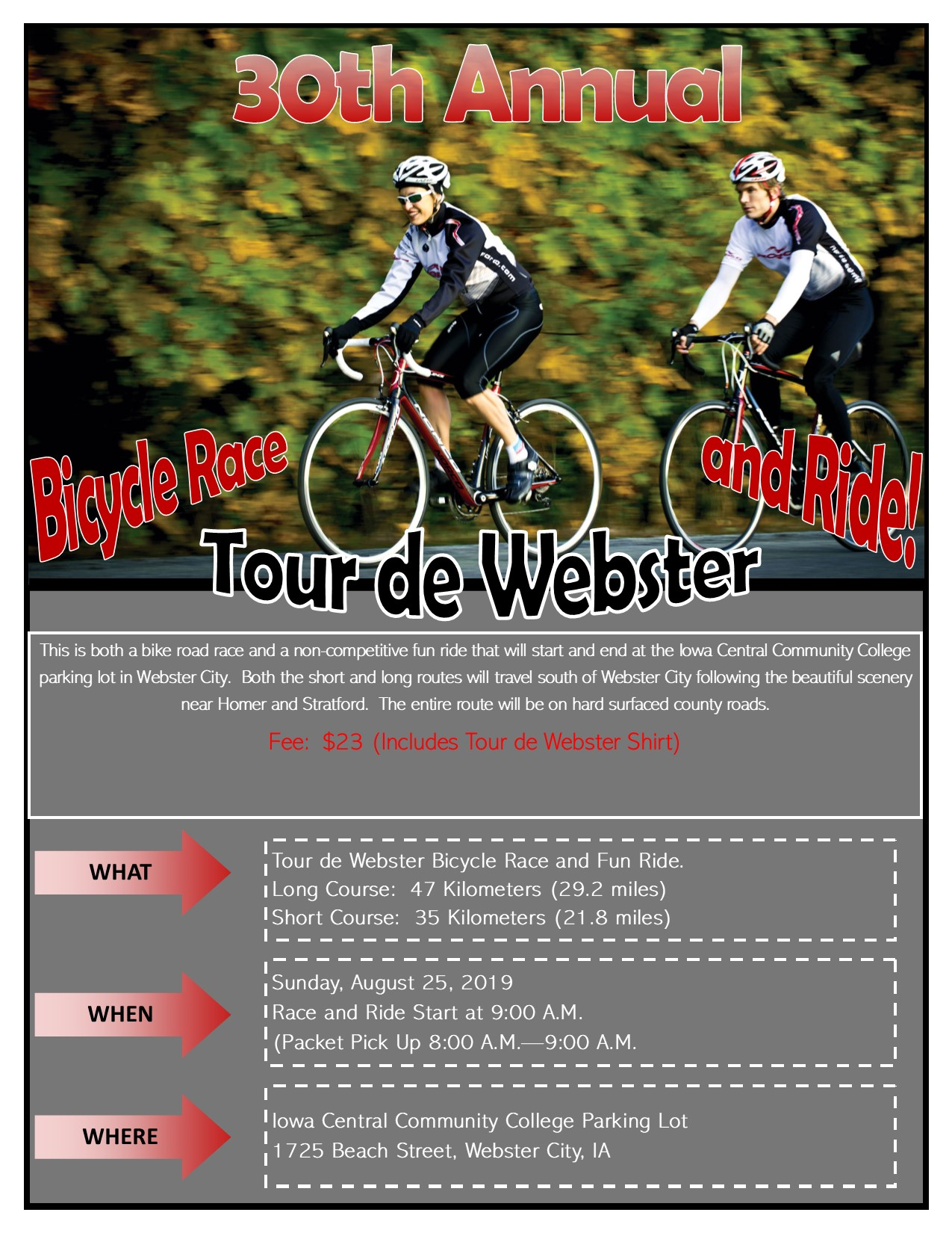 Tour de Webster - Race and Bike Ride @ Iowa Central Community College - Webster City | Webster City | Iowa | United States